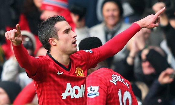 Robin van Persie celebrates his goal for United against Liverpool...NO ONE is having a better Premier League season than Robin. No doubt about it...RVL is one of the best players in the world!
