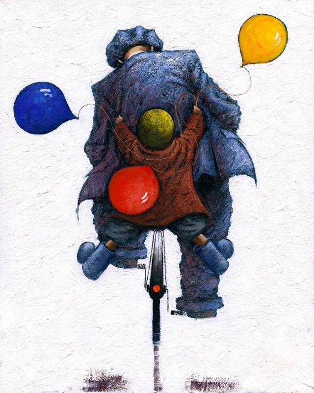 Hopes And Dreams by Alexander Millar #contemporary #art #York #Yorkshire #Pocklington #alexandermillar #launchday #gadgies #gals #workingman #2016 #collection #ships #Shipbuilding #family #kids #dad #grandad #grandpa #happydays #bike #bicycle