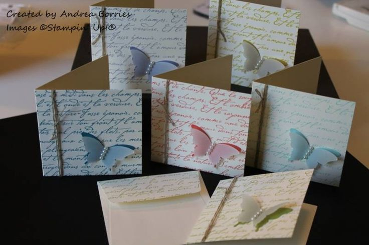 3 x 3 card set with elegant butterfly punch of card stock & vellum layered and En Français stamp
