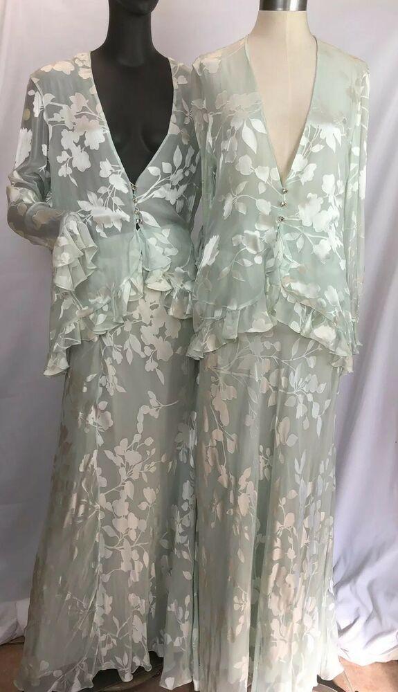 f869373e52838f Designer C Michael Mint Lightweight Long Skirt Sheer Top sz 14 formal  Wedding