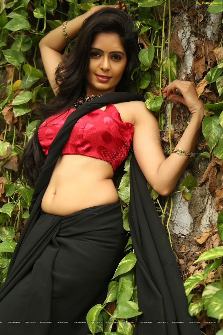 Beautiful Tollywood Film Actress Madhumitha in Black Saree - Image 55