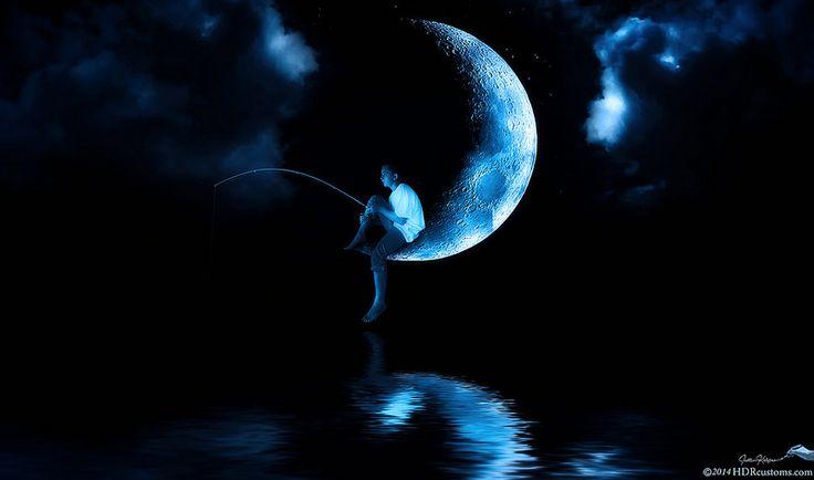 Justyn Kelefas - Boy sitting on moon fishing (DreamWorks Studios Tribute)