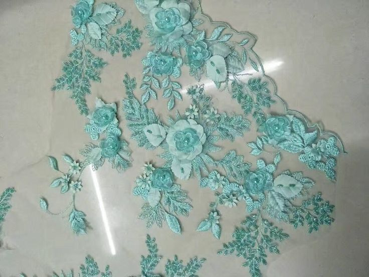 Nieuwste design 3D lace stof beaded lace stof met 3d bloem