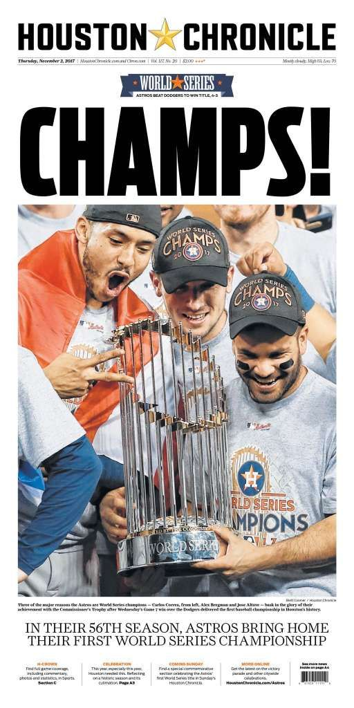 How to get the Houston Astros World Series Championship edition of the Houston Chronicle - Houston Chronicle