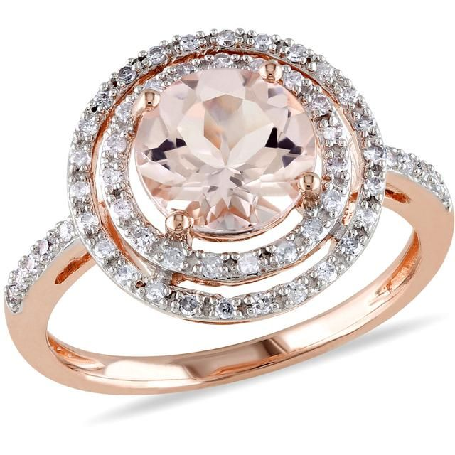 Sofia B 2 CT TW Morganite 10K Rose Gold Halo Ring with