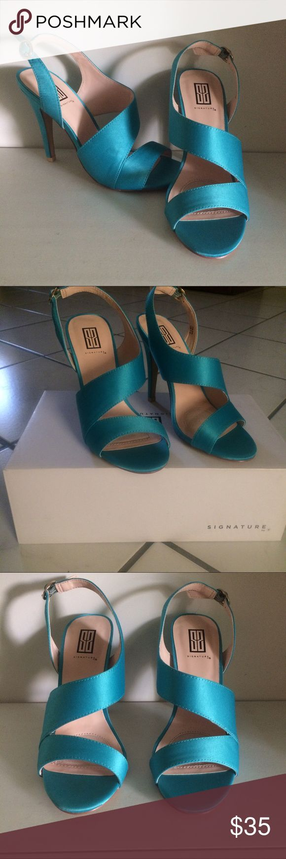 Heels Bandage style heels. Padded insoles. Brand new never been worn, walked around in the house once to see how they felt for no longer then 20 minutes.   Size: 7.5  Brand: Signature (Shoedazzle)  Color: Turquoise Shoe Dazzle Shoes Heels