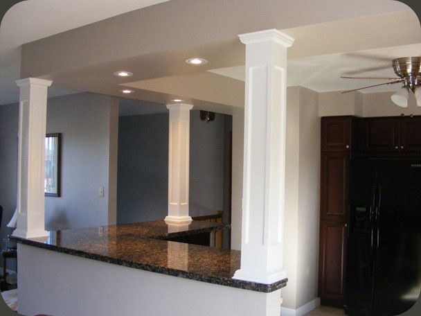 take out load bearing wall in living room columns to enclose load bearing points and. Black Bedroom Furniture Sets. Home Design Ideas