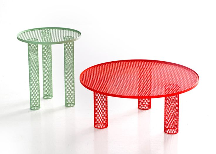 London designer Benjamin Hubert has created a series of tables with legs and tops made of metal mesh for Italian brand Moroso.
