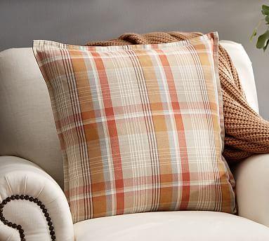 30 20 Quot Sqare Pumpkin Plaid Cotton Pillow Covers