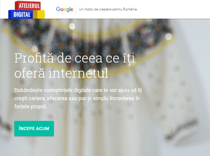 Google a lansat azi, 26 aprilie, Atelierul de Digital în România, ce dorește să atragă 30.000 de studenți. Atelierul cuprinde 89 de lecții, și 23 de module.