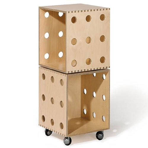 Birch Ply Wood Stackable Storage Boxes w/ Casters