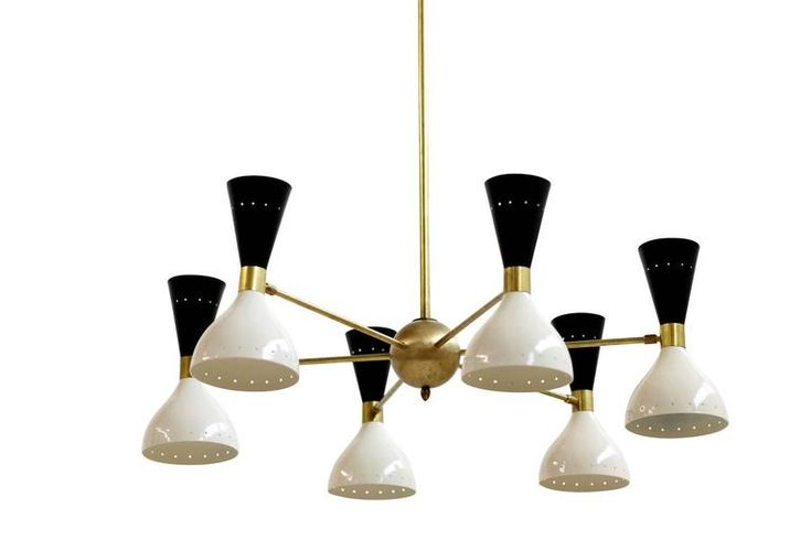 Beautiful and Large Adjustable Italian Chandelier Brass Bi-Color Stilnovo Style 2