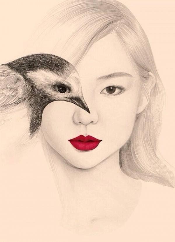 Delicados dibujos a pluma y lápiz de muchachas con pájaros