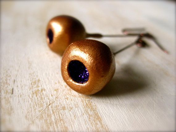 Copper/Purple glitter pod earrings with Copper by OpiumStudios, $12.00