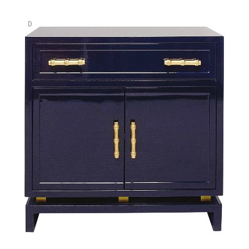 MatthewIzzo.com Navy lacquer and bamboo gold details (World Away Marcus Lacquer Cabinet Navy With Gold Handles