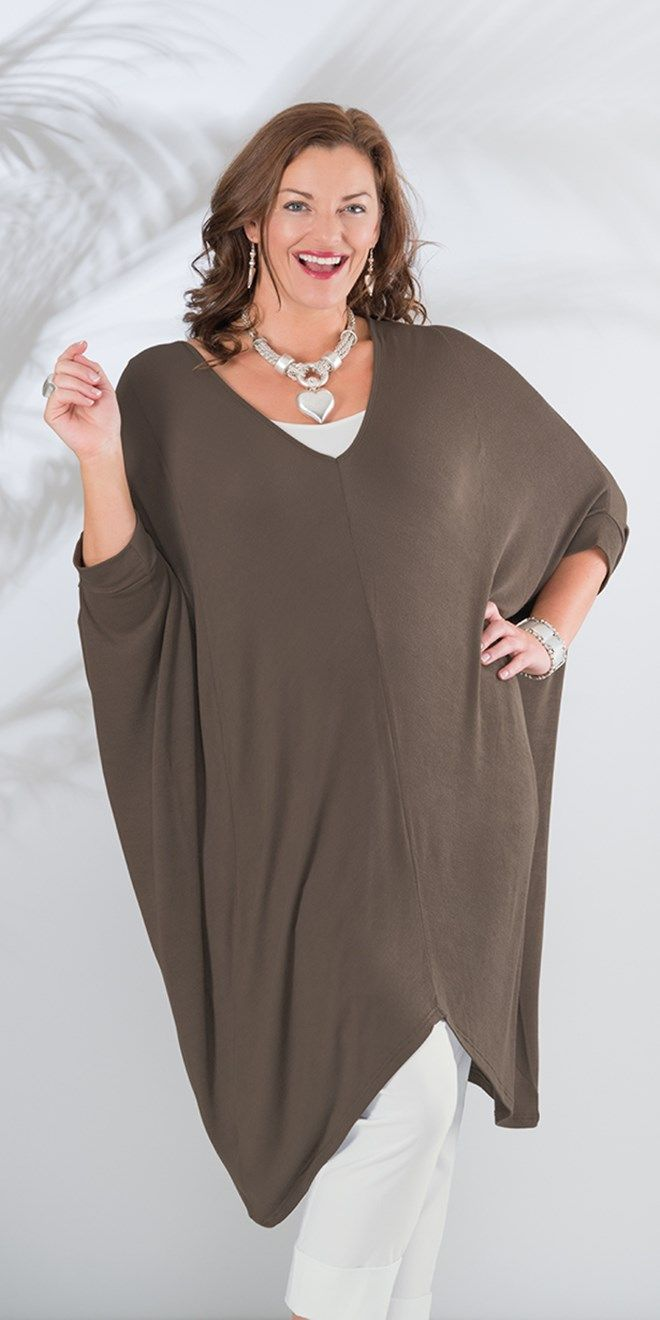 "Join Clothes cigar batwing knitted top: V neck batwing style top, centre back 30.5"" approx (longer at sides). 97% viscose 3% elastin, washable , £105.00. 