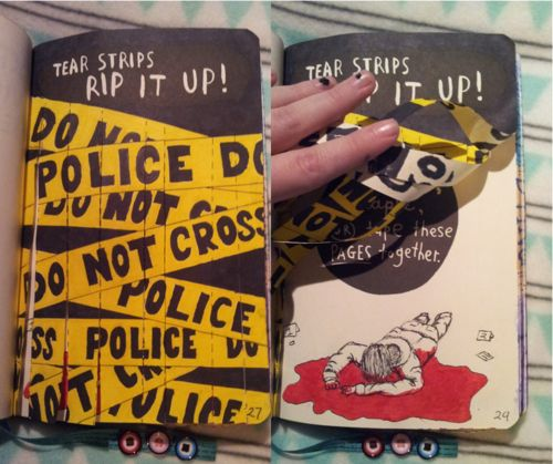 """creativebrainwash: """"For this page I wanted to create a crime scene. So the strips are part of police line, which may not be crossed. Behind the line you can see a dead bloody body. This is one of my..."""