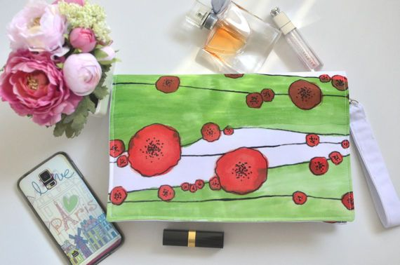Hand painted purse Flowers clutch Green red handbag