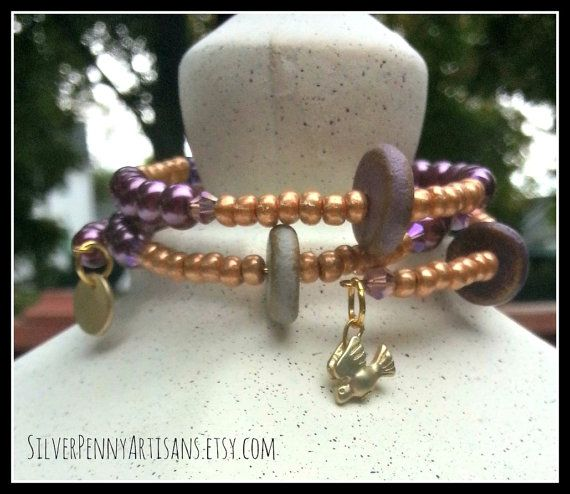 Memory Wire Bracelet/ Purple and Gold by SilverPennyArtisans    *** USE coupon code PINTEREST10 for 10%off at www.silverpennyartisans.com