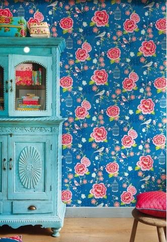 pip studio bird paradise blue wallpaper Love Vintage Craft.
