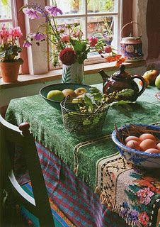 Chenille tablecloth.