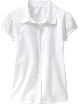 Girls Uniform Ruched-Sleeve Tops - Cute shirt, but not sure if my daughter would wear it - Rank #4