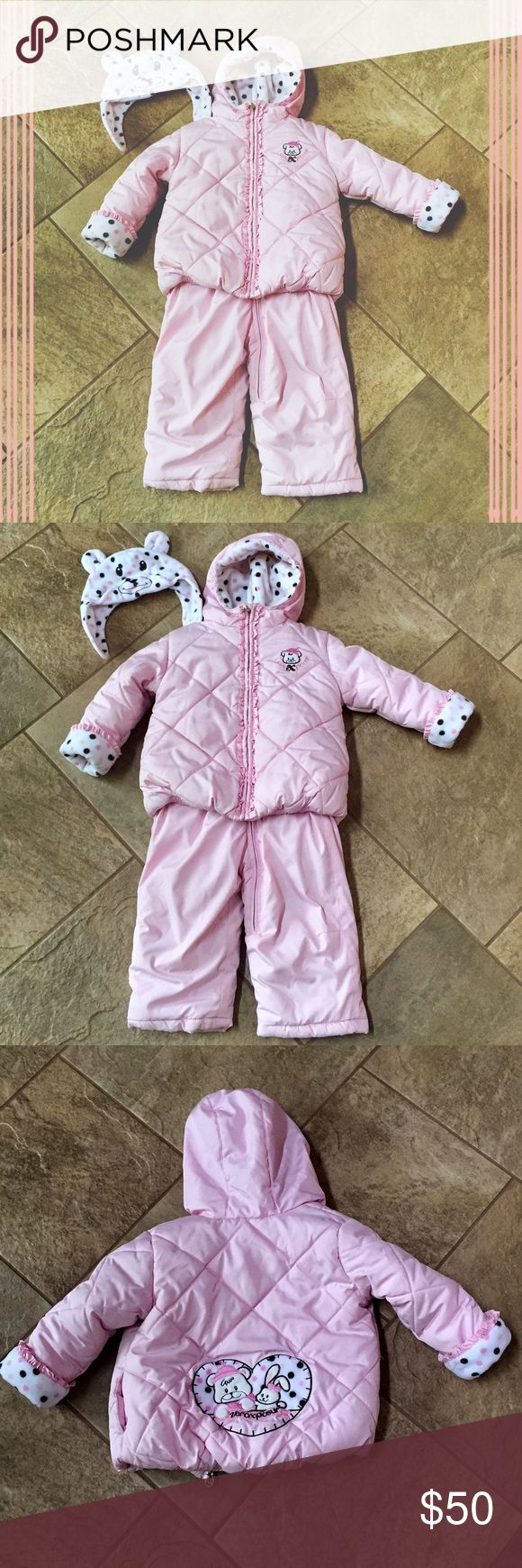 zero xposure snow suit • 100% polyester • includes hat, coat & overalls • heavy but not still • straps to overalls are adjustable • like-new condition: coat has small mark on front shown in picture ZeroXposur Matching Sets