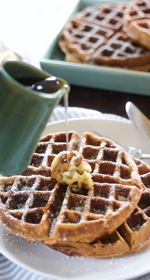 Sweet Potato Waffles with Pecan Honey Butter | Wicked Spatula