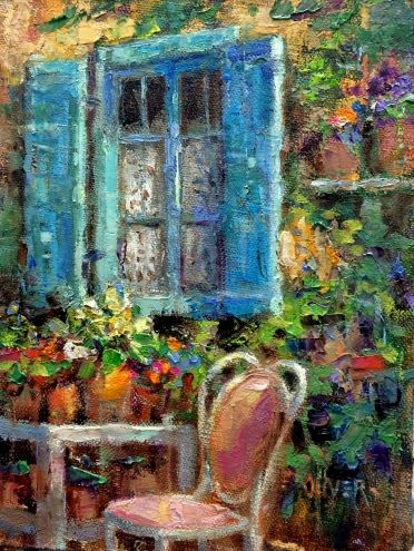 Blue Shutters - France., painting by artist Julie Ford Oliver
