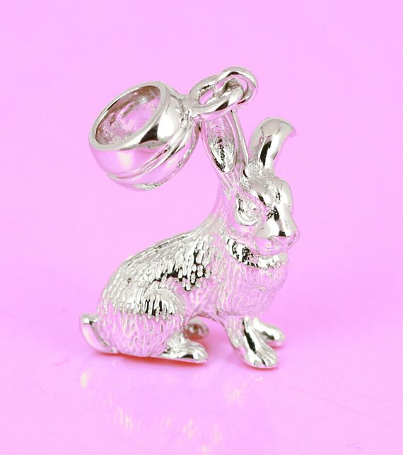 Rabbit Bunny Charm Solid 925 Sterling Silver 3D Animal Charm