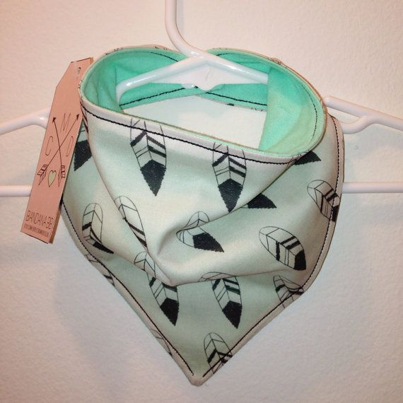 Feather print reversible bandana bib with Mint or Olive flannel backing by CoraMaeDesigns on Etsy, $10.00