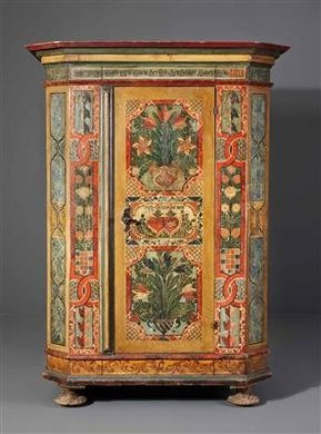 1805, painted cupboard from central europe.