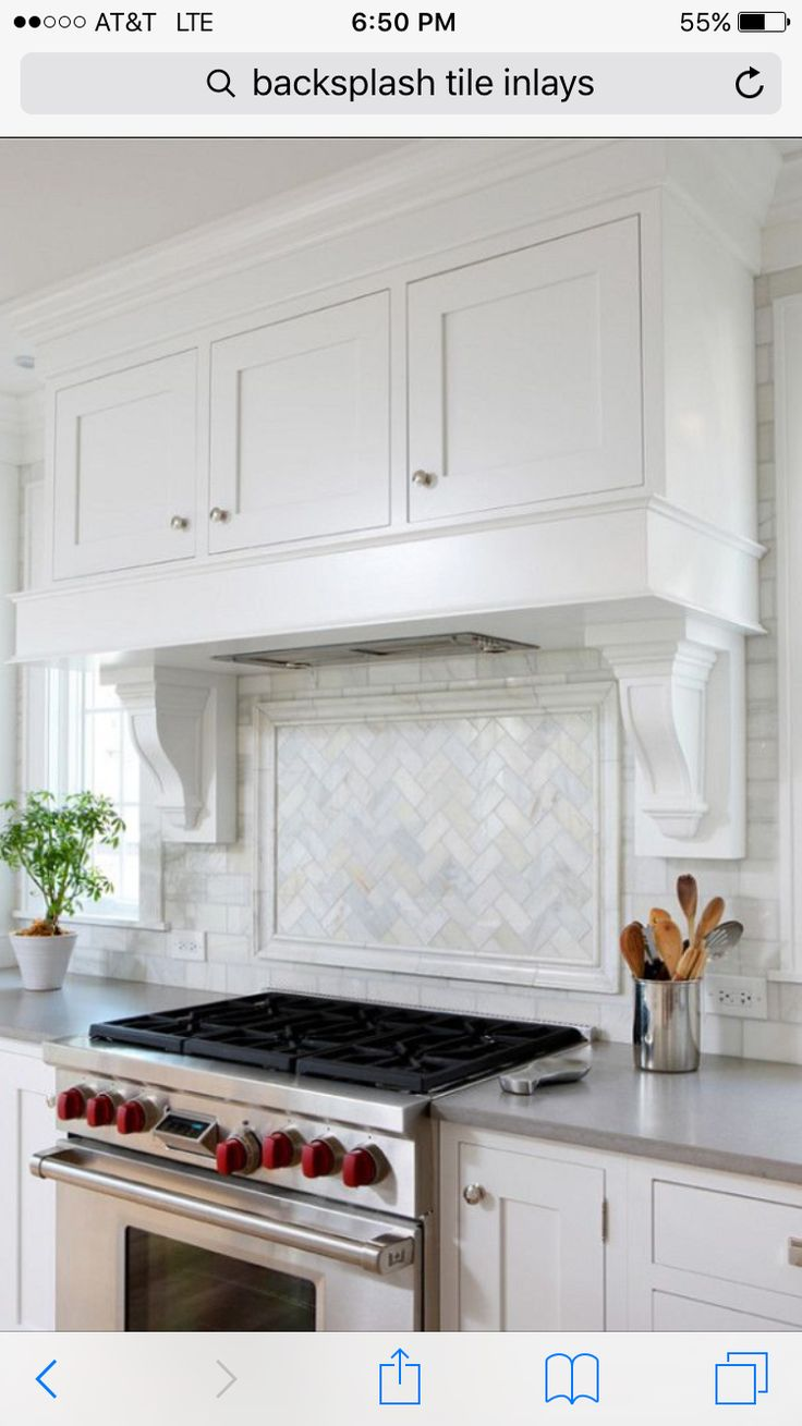 8 best subway tiles images on pinterest dream kitchens backsplash love the mantle look of this range hood the backsplash in this kitchen is a carrara bianco herringbone picture frame edged with a chair rail dailygadgetfo Image collections