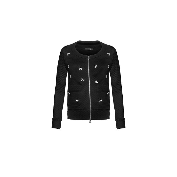 Naughty Dog #FW1415 black quilted #cardigan decorated with swarovski elements.