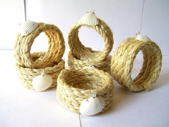 Seashell rope napkin rings coastal beach decor by beachseacrafts, $15.50