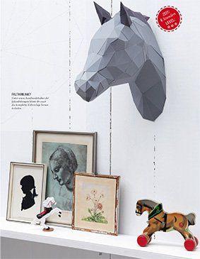 Kreativbühne via Handmadekultur: Pferdekopf aus Papier Schnittmuster: http://www.handmadekultur.de/up/faltanleitungen/druckvorlage_3d_pferd.pdf