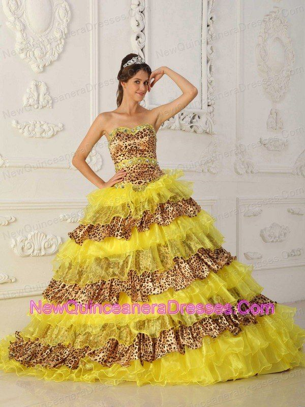 yellow and leopard a line sweet 15 dress