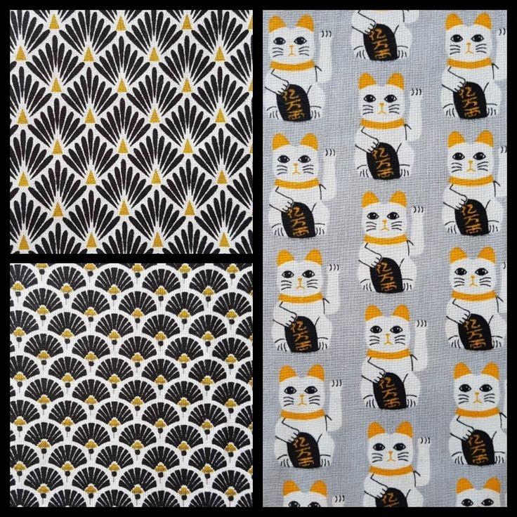 3coupons tissus :coton ,éventails ,chat chinois, porte bonheur,coton, crétone,noir,jaune.