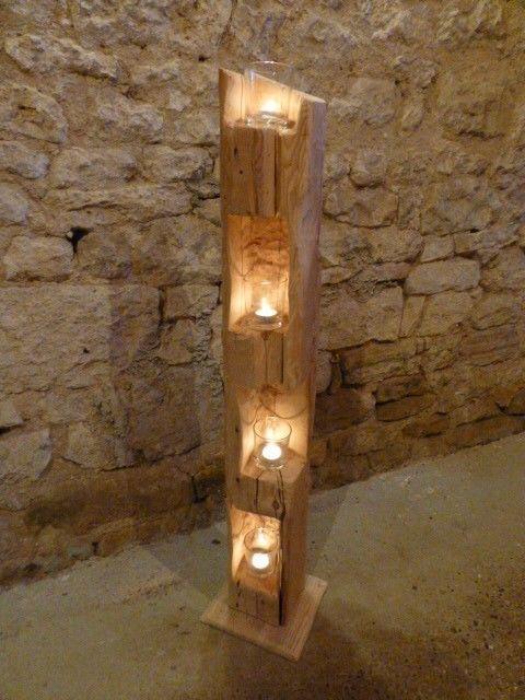 Windlicht einzigartig aus alten Holzbalken Stele Dekoration Skulptur Strahl Licht alt N4 / 2 i