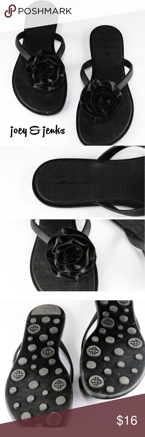 "⛱SALE⛱ Antonio Melani Black Sandals Ready for the pool!  Excellent condition.  Show little if any signs of wear. These sandals are rubber so they can go to the pool but can also go to dinner. Rose is also made of rubber. There is no box. ● Size 7 1/2 Medium. Length is 10"" from end to end. ● Made of rubber. ● Bundle 2 or more items for 15% off. Free shipping for orders over $100. Smoke-free home and fast shipper! Antonio Melani Shoes Sandals"