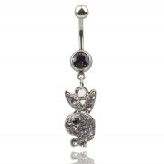 Playboy CZ Piercing Rabbit 316L Surgical Steel Belly Body Navel Ring | revampedcouture - Jewelry on ArtFire
