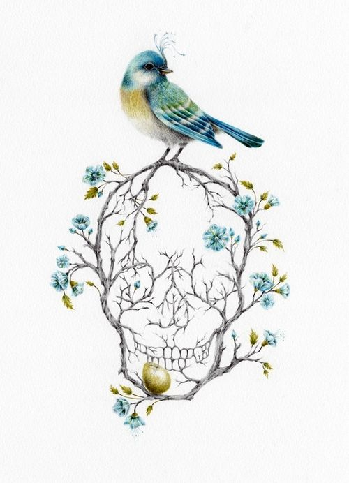 Skull Tattoo | Courtney Brims  Love the concept, but would have the branches make something else. A heart or a music note, clef, etc...