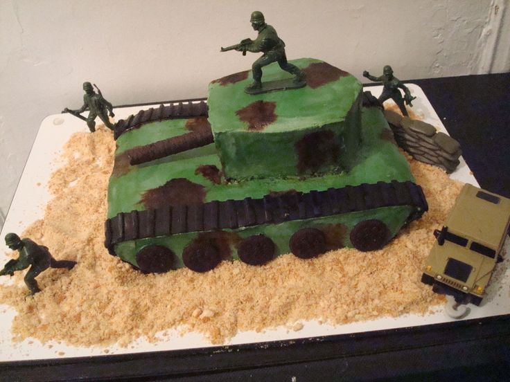 Army Tank Cake Army Tank cake for my hubby who turned 40 and is a veteran of the Gulf War. He was ecstatic when I finished the cake!