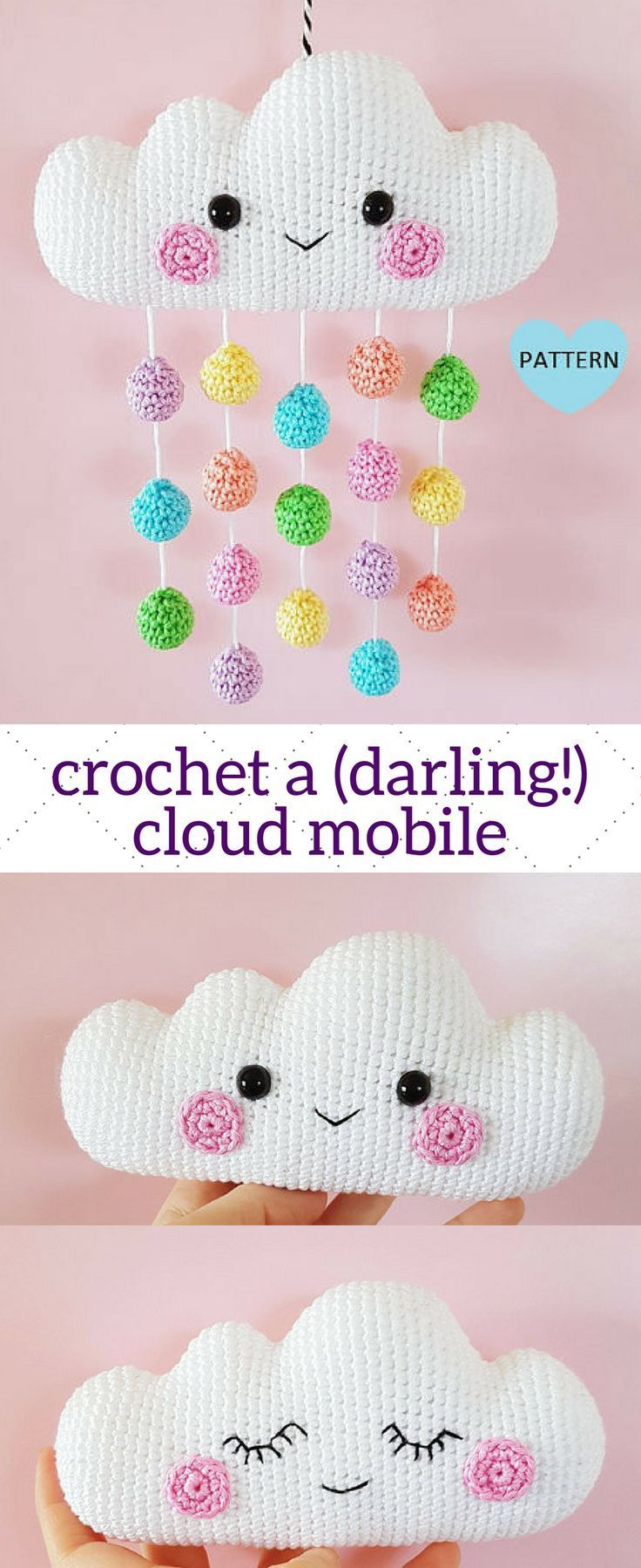 Crochet an adorable amigurumi baby mobile of a cloud with rainbow rain drops. Instant pattern download, $6. #crochet #babymobile #nurserydecor #rainbow #amigurumi #baby #pattern #patternsforcrochet #affiliate #etsy