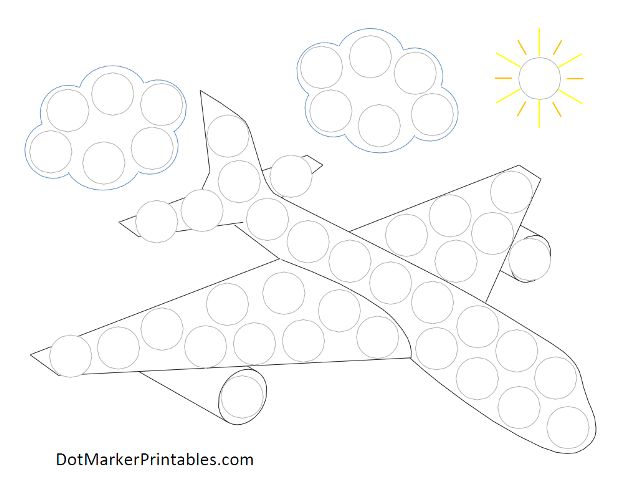 Dot Marker Printables:  Airplane