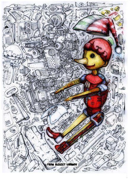 Буратино Малыш Москва. PINOCCIO TECHNICAL DOODLING Алексей Любимов  Биомеханика  #Robots #incolors #Technical #Рисуноккапиллярнойручкой #Биомеханика #Стимпанк #Дизельпанк #Киберпанк #Rollerpen #Steampunk #Dieselpunk #Cyberpunk #Biomechanical #TShirtsprint #Рисунокнафутболку #Принтнафутболку #Рисунокроботов #АлексейЛюбимовБиомеханика #scifi #futuristic #fantastic #doodling #zentangle #антистресс #буратино #пиноккио #pinoccio