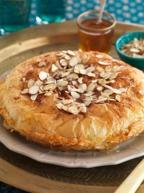 Traditional Moroccan Chicken Bastilla - filo pie stuffed with chicken.