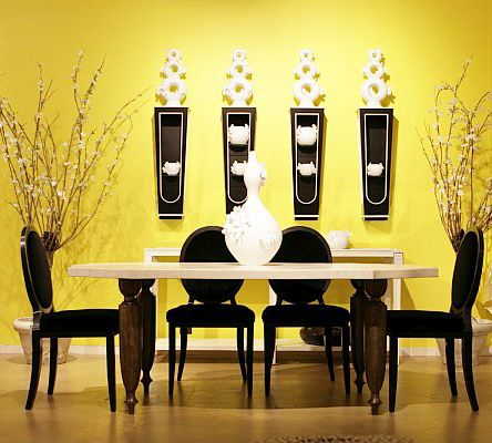 Interesting black and yellow dining room decor yellow for Yellow dining room ideas