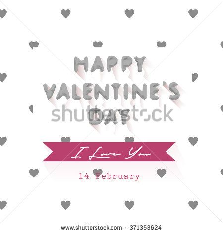 Happy valentines day cards with ornaments, hearts, ribbon, and low poly. - stock vector
