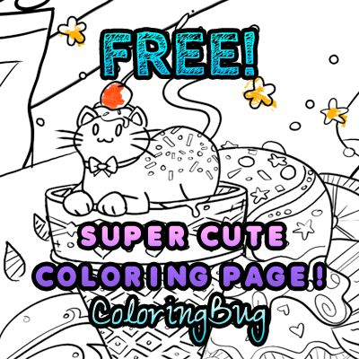 free coloring page super cute with lots of details to color